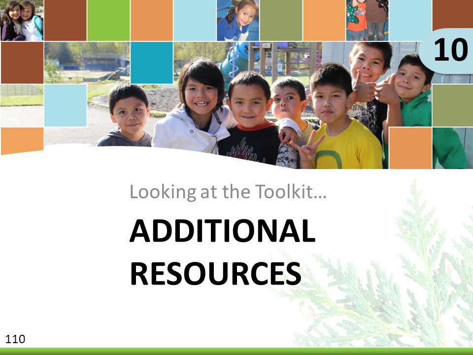 10 Looking at the Toolkit… Additional Resources