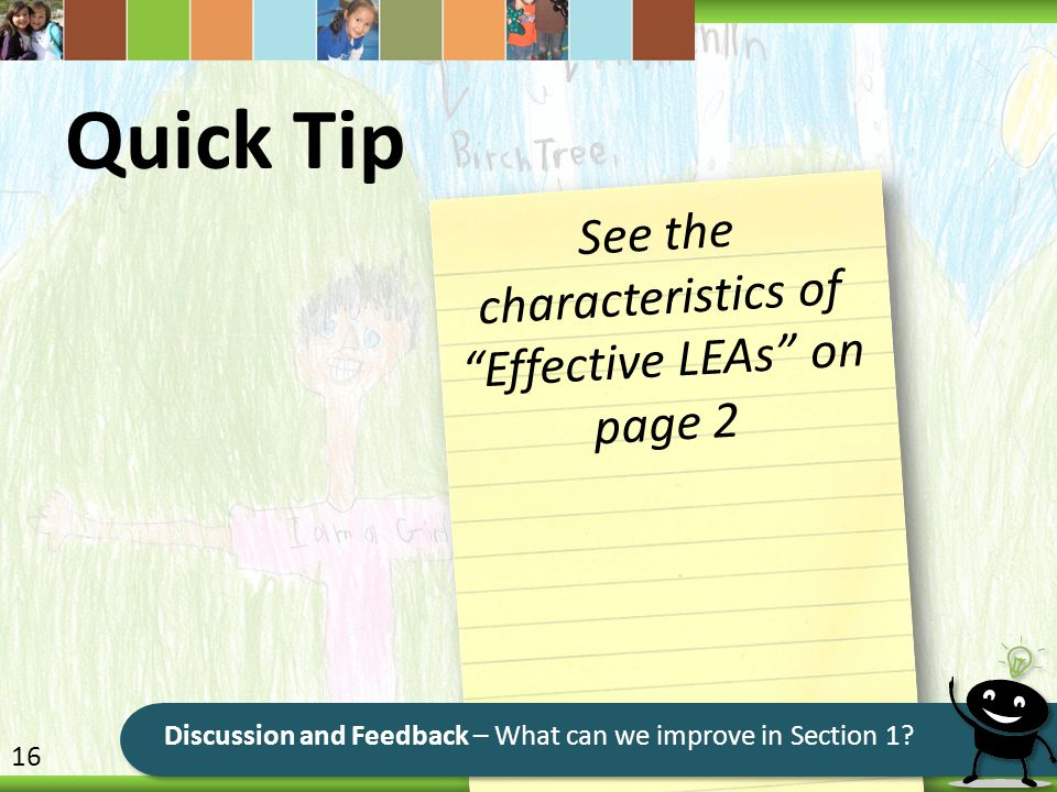 See the characteristics of Effective LEAs on page 2