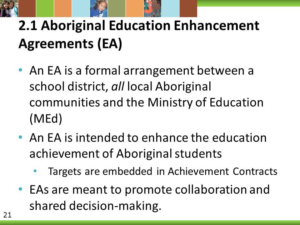 2.1 Aboriginal Education Enhancement Agreements (EA)