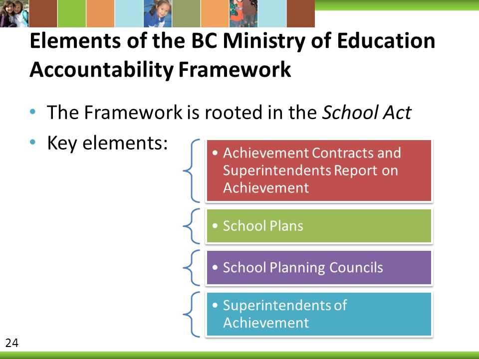 Elements of the BC Ministry of Education Accountability Framework