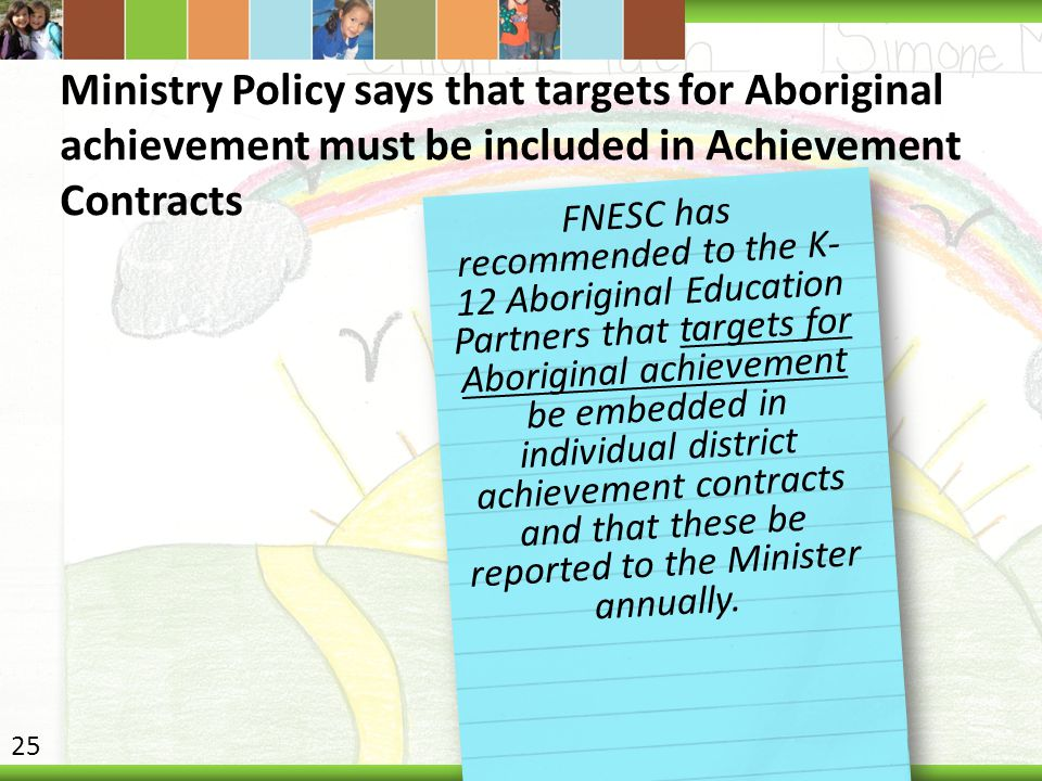 Ministry Policy says that targets for Aboriginal achievement must be included in Achievement Contracts