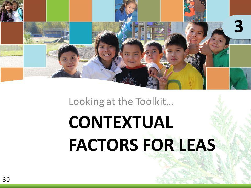 Contextual Factors for LEAs