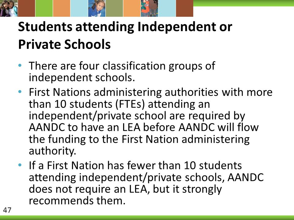Students attending Independent or Private Schools
