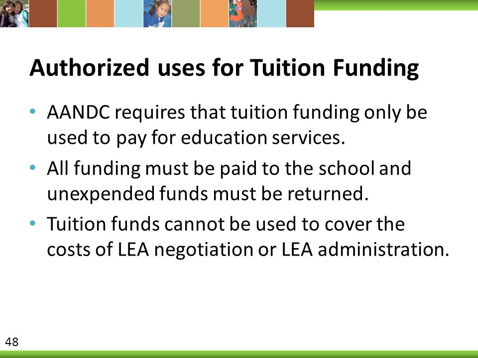 Authorized uses for Tuition Funding