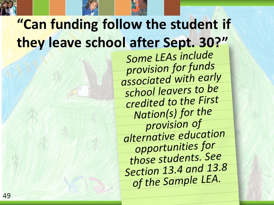 Can funding follow the student if they leave school after Sept. 30