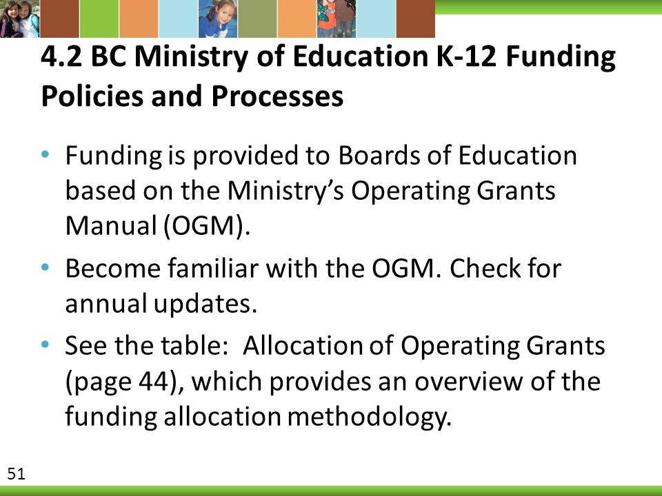 4.2 BC Ministry of Education K-12 Funding Policies and Processes