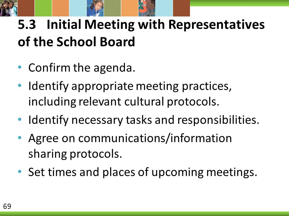 5.3 Initial Meeting with Representatives of the School Board