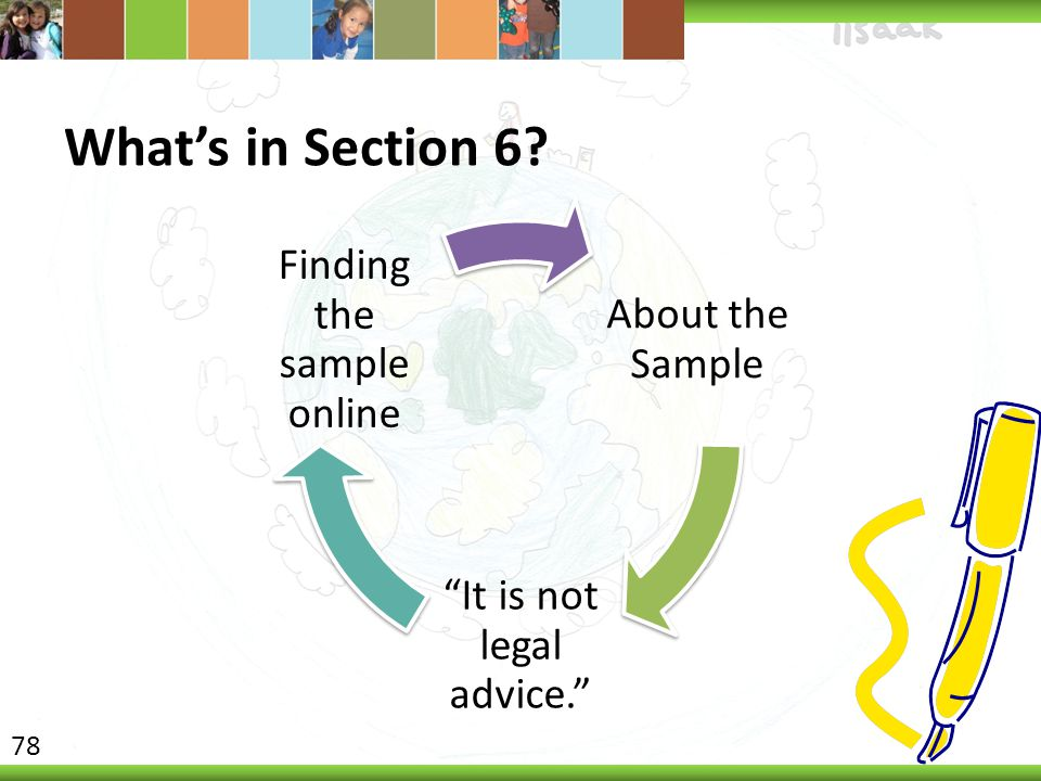 What's in Section 6 Finding the sample online About the Sample
