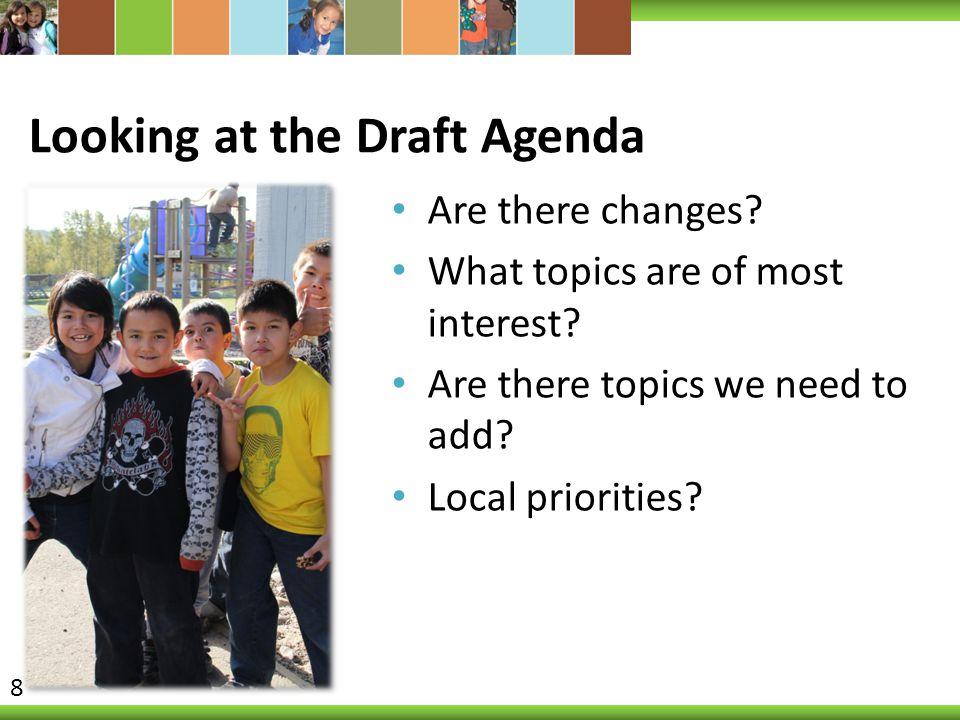 Looking at the Draft Agenda
