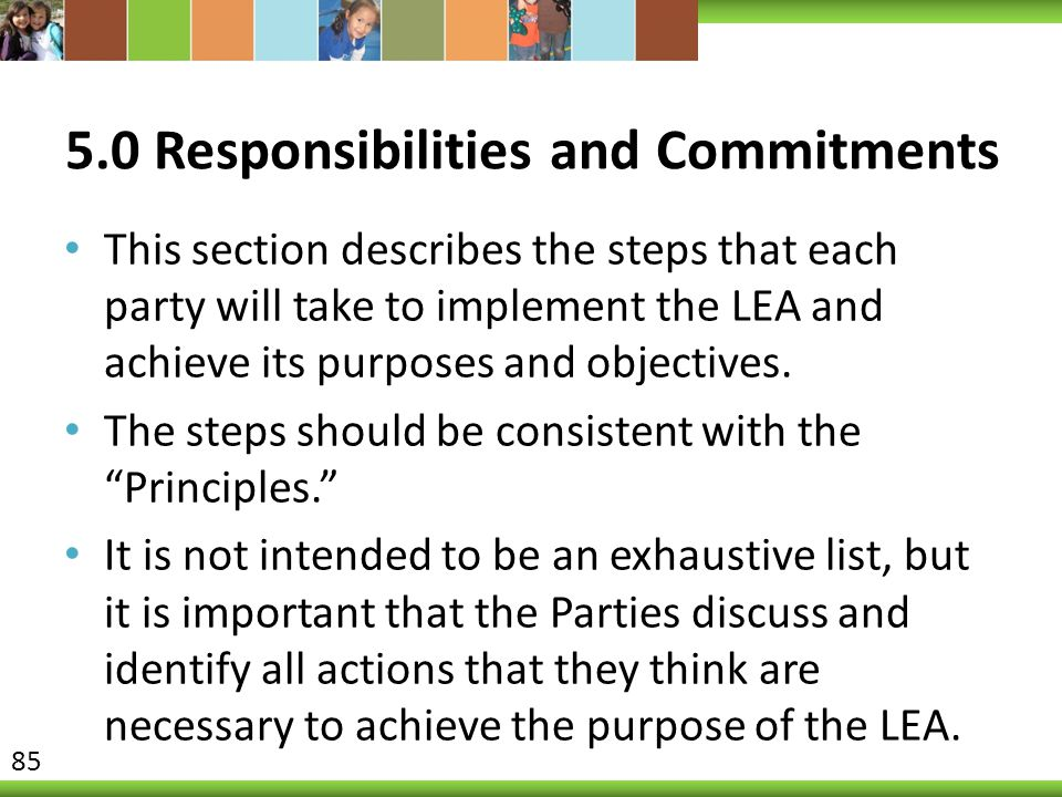 5.0 Responsibilities and Commitments