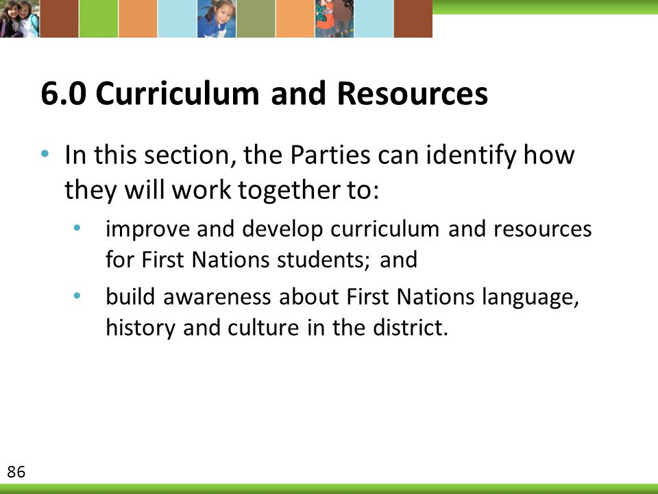 6.0 Curriculum and Resources