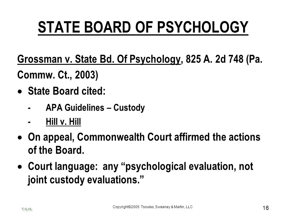 STATE BOARD OF PSYCHOLOGY