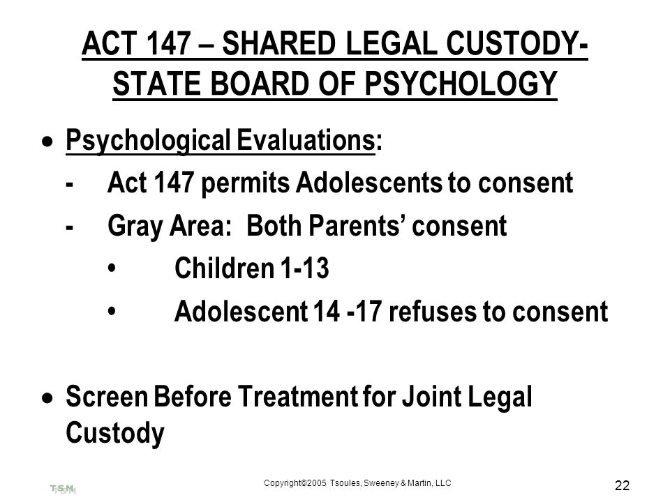 ACT 147 – SHARED LEGAL CUSTODY- STATE BOARD OF PSYCHOLOGY