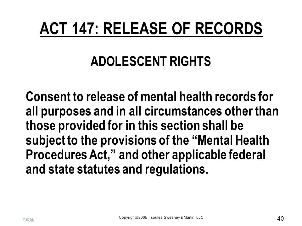 ACT 147: RELEASE OF RECORDS