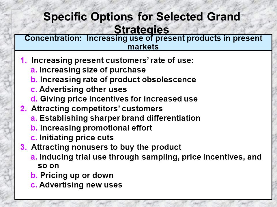 Specific Options for Selected Grand Strategies