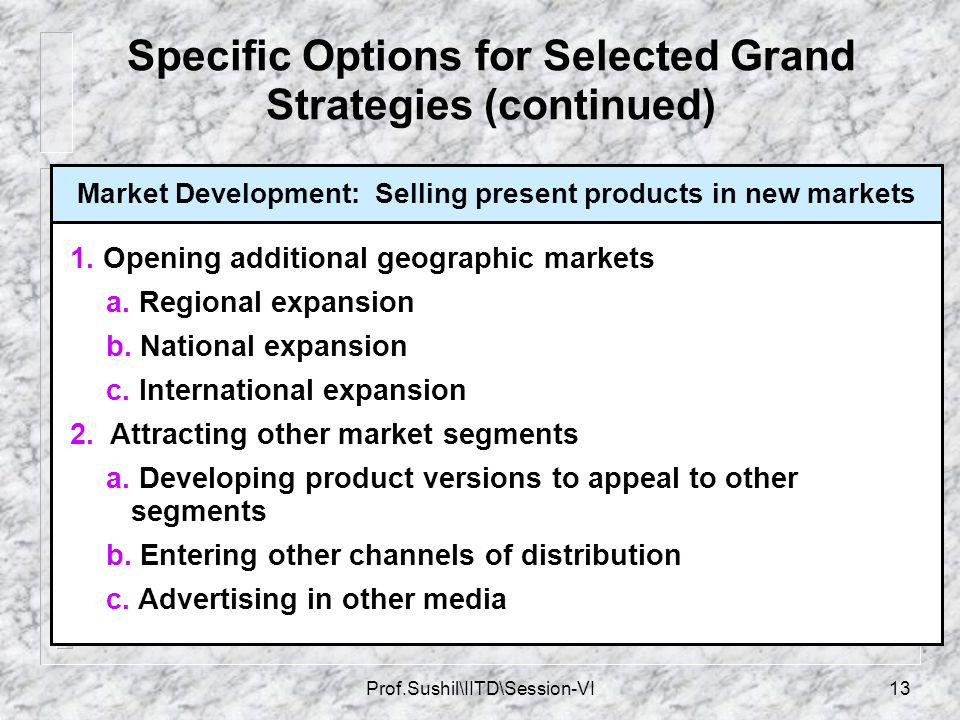 Specific Options for Selected Grand Strategies (continued)