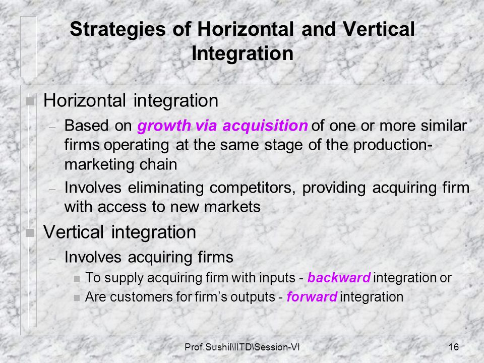 Strategies of Horizontal and Vertical Integration