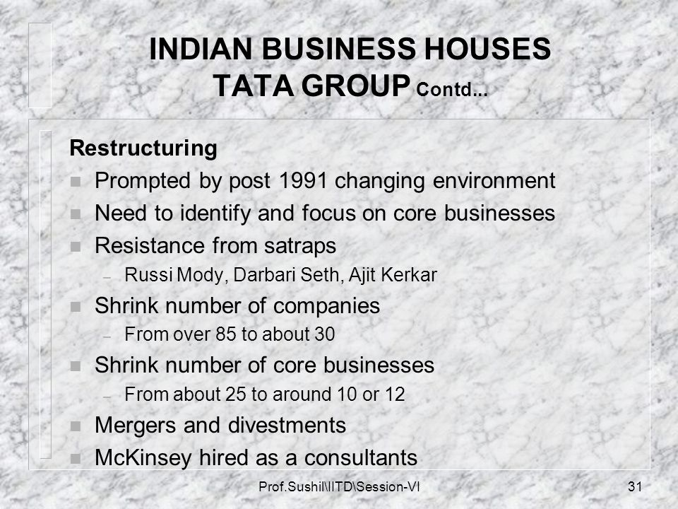 INDIAN BUSINESS HOUSES TATA GROUP Contd...