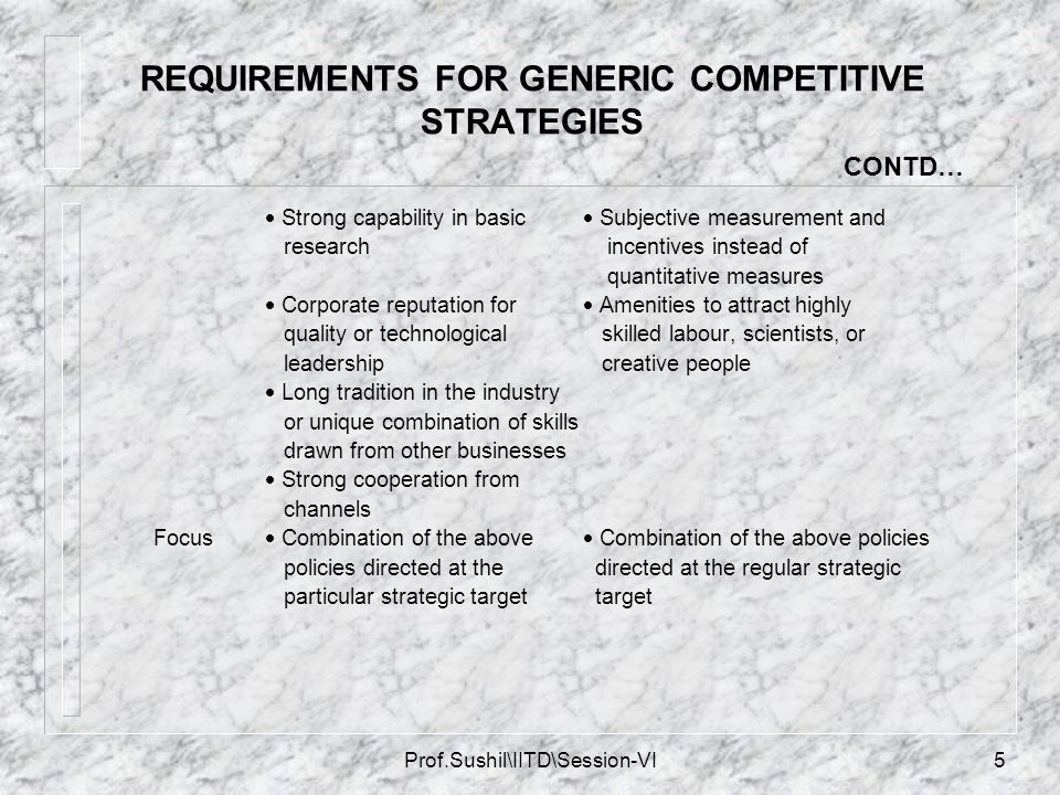 REQUIREMENTS FOR GENERIC COMPETITIVE STRATEGIES CONTD…