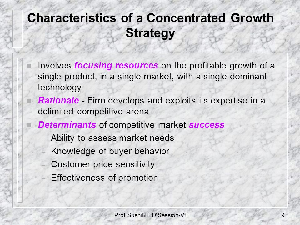 Characteristics of a Concentrated Growth Strategy