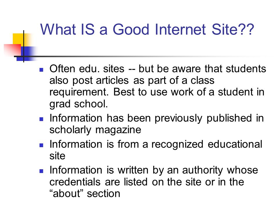 What IS a Good Internet Site
