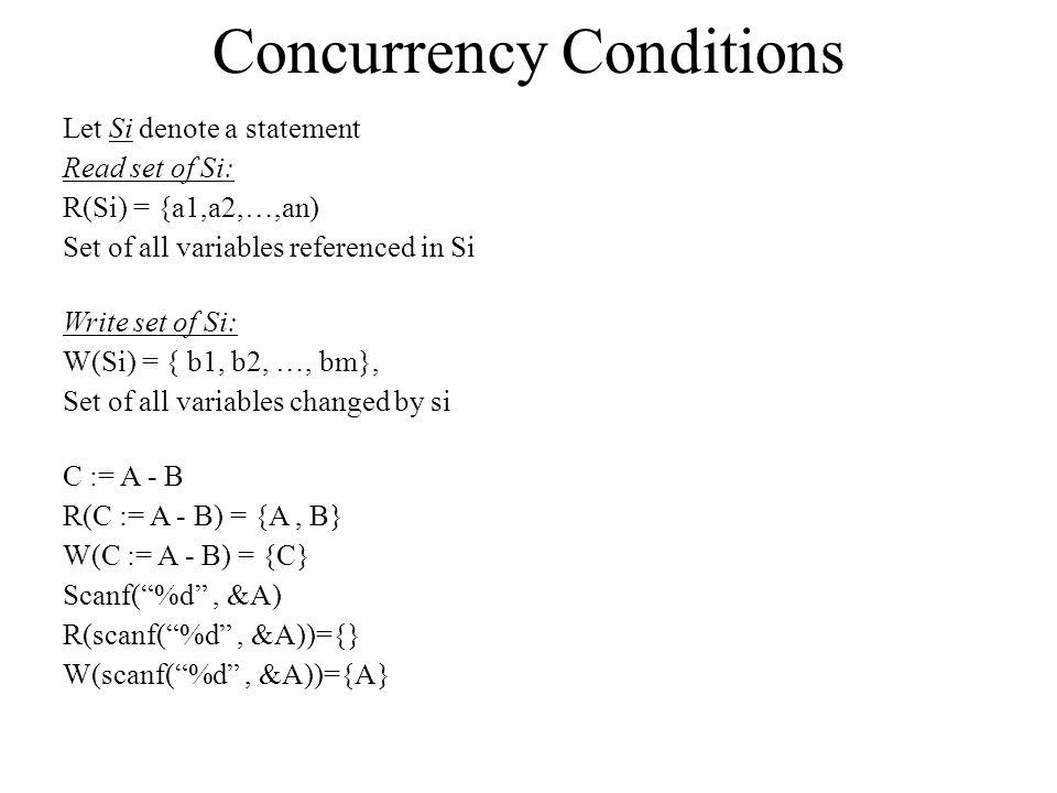 Concurrency Conditions