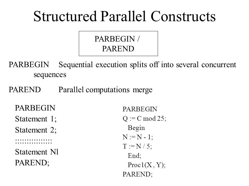 Structured Parallel Constructs