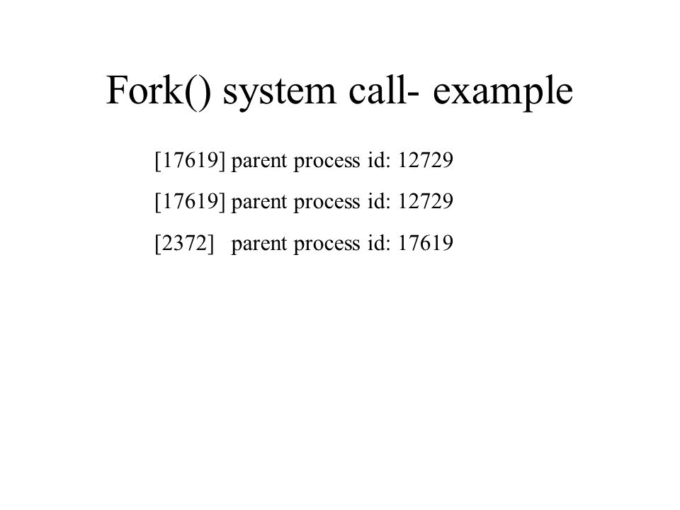 Fork() system call- example