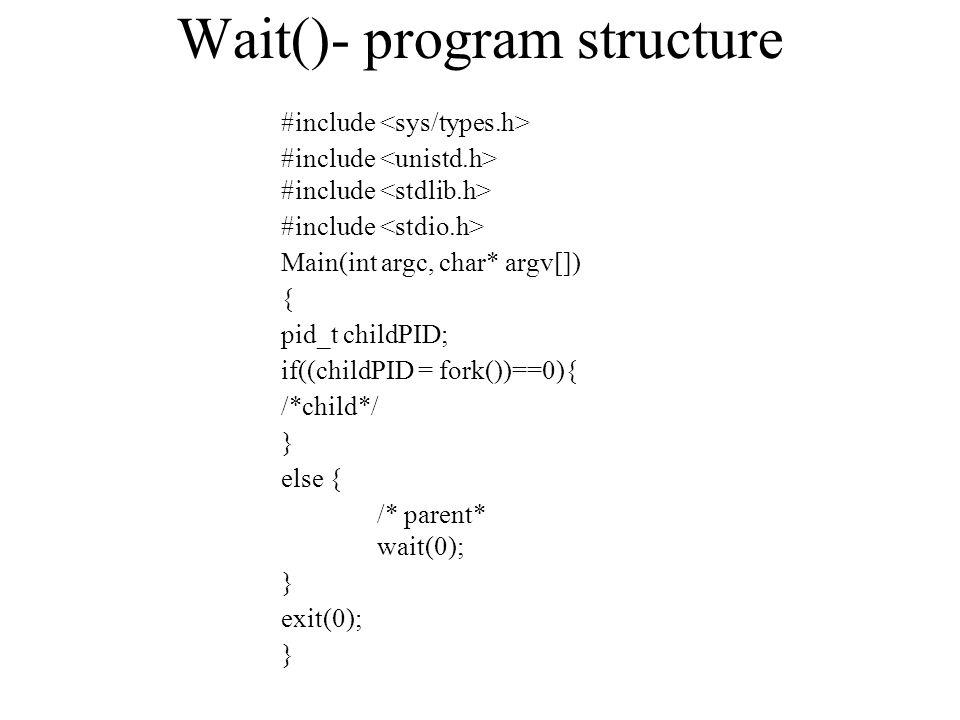 Wait()- program structure