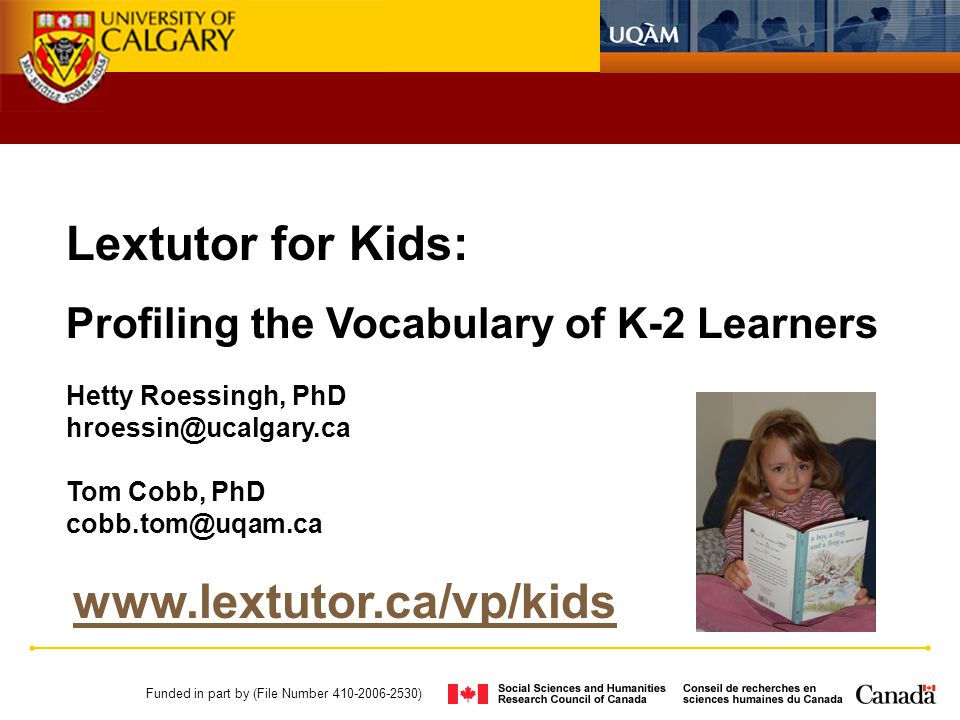 Lextutor for Kids: Profiling the Vocabulary of K-2 Learners