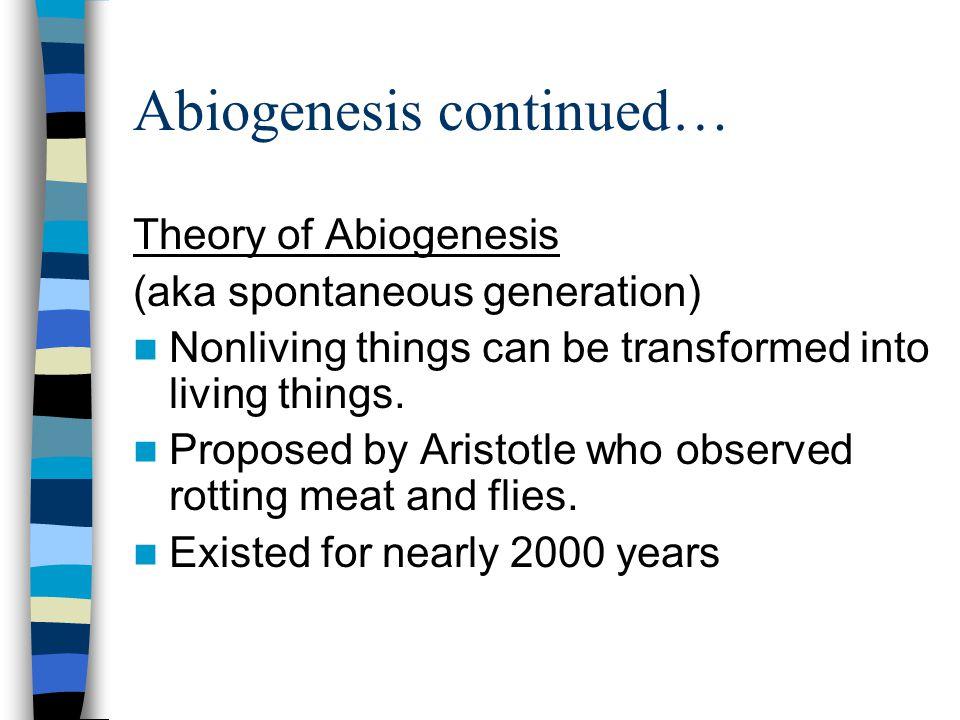 Abiogenesis continued…