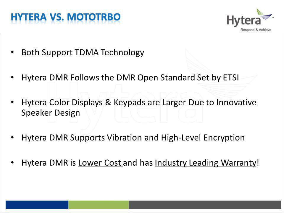 Hytera vs. MotoTrbo Both Support TDMA Technology