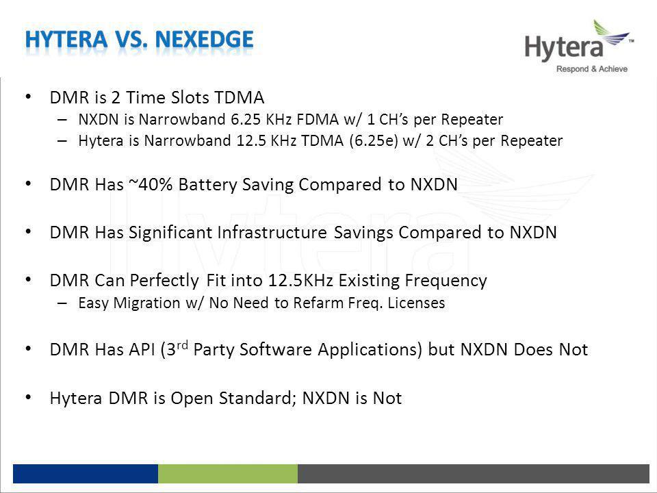 Hytera vs. Nexedge DMR is 2 Time Slots TDMA