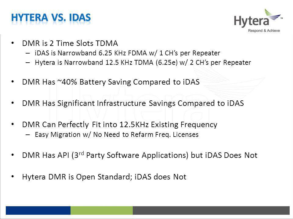 Hytera vs. iDAS DMR is 2 Time Slots TDMA
