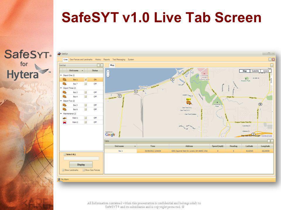 SafeSYT v1.0 Live Tab Screen