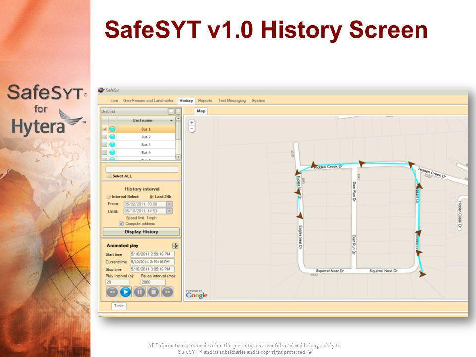 SafeSYT v1.0 History Screen