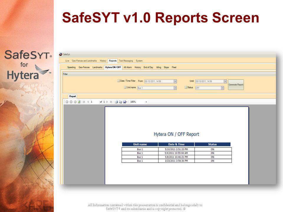 SafeSYT v1.0 Reports Screen