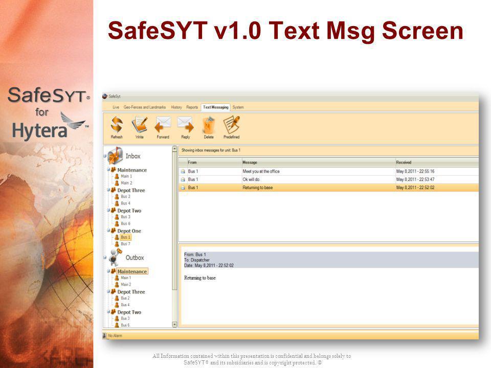 SafeSYT v1.0 Text Msg Screen