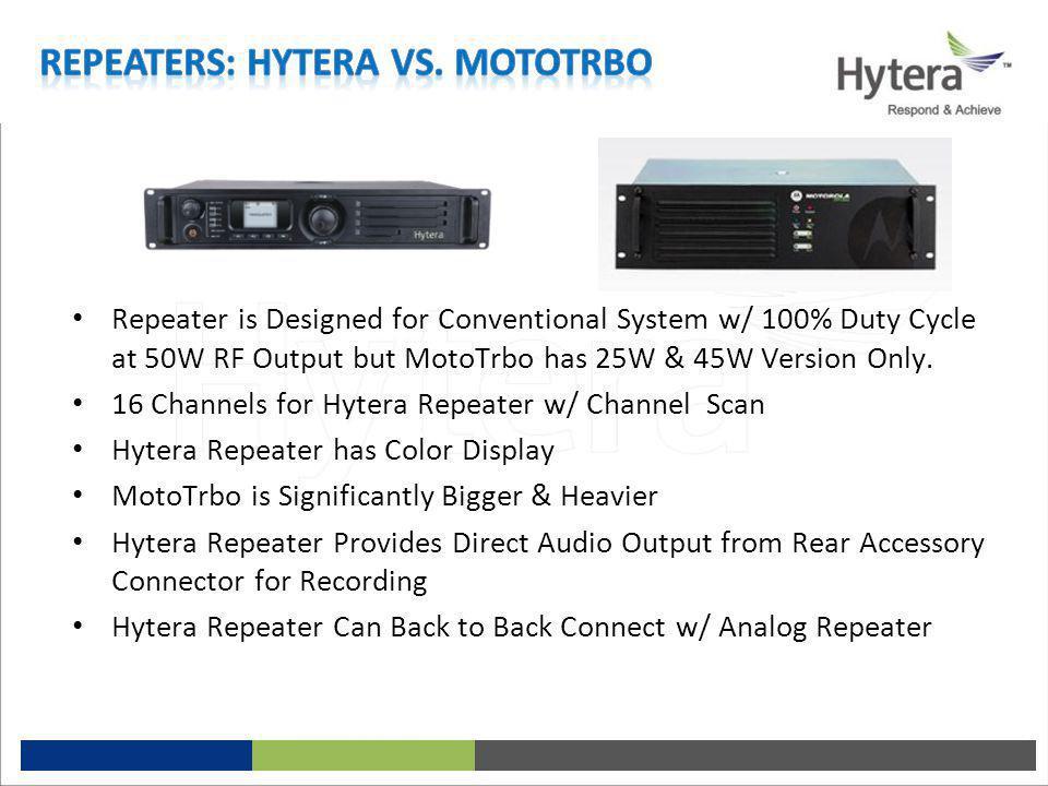 Repeaters: Hytera vs. MotoTrbo