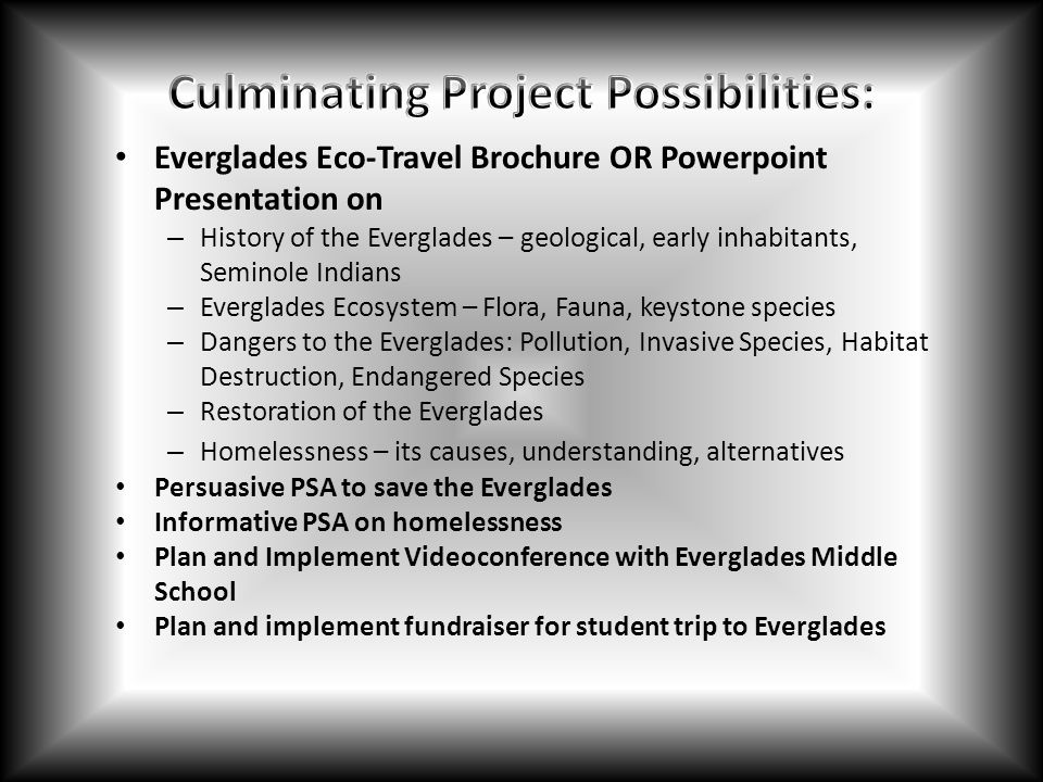 Culminating Project Possibilities: