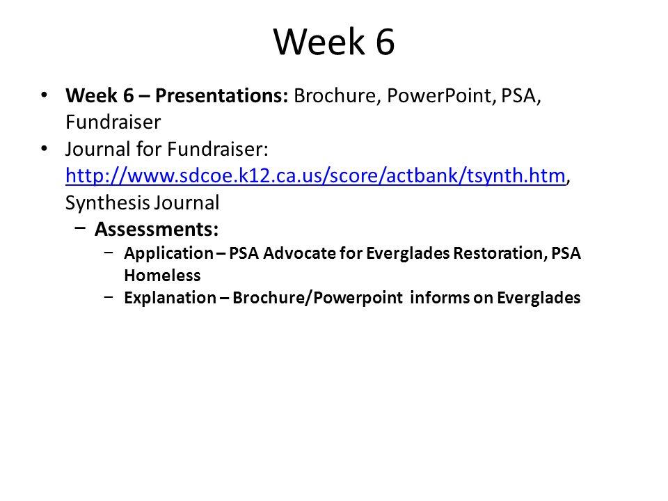 Week 6 Week 6 – Presentations: Brochure, PowerPoint, PSA, Fundraiser