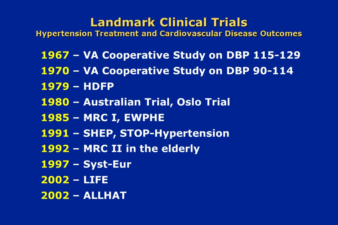 Landmark Clinical Trials Hypertension Treatment and Cardiovascular Disease Outcomes
