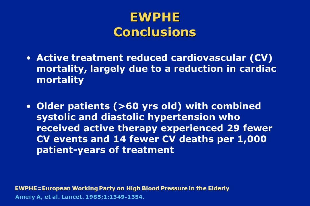 EWPHE Conclusions Active treatment reduced cardiovascular (CV) mortality, largely due to a reduction in cardiac mortality.