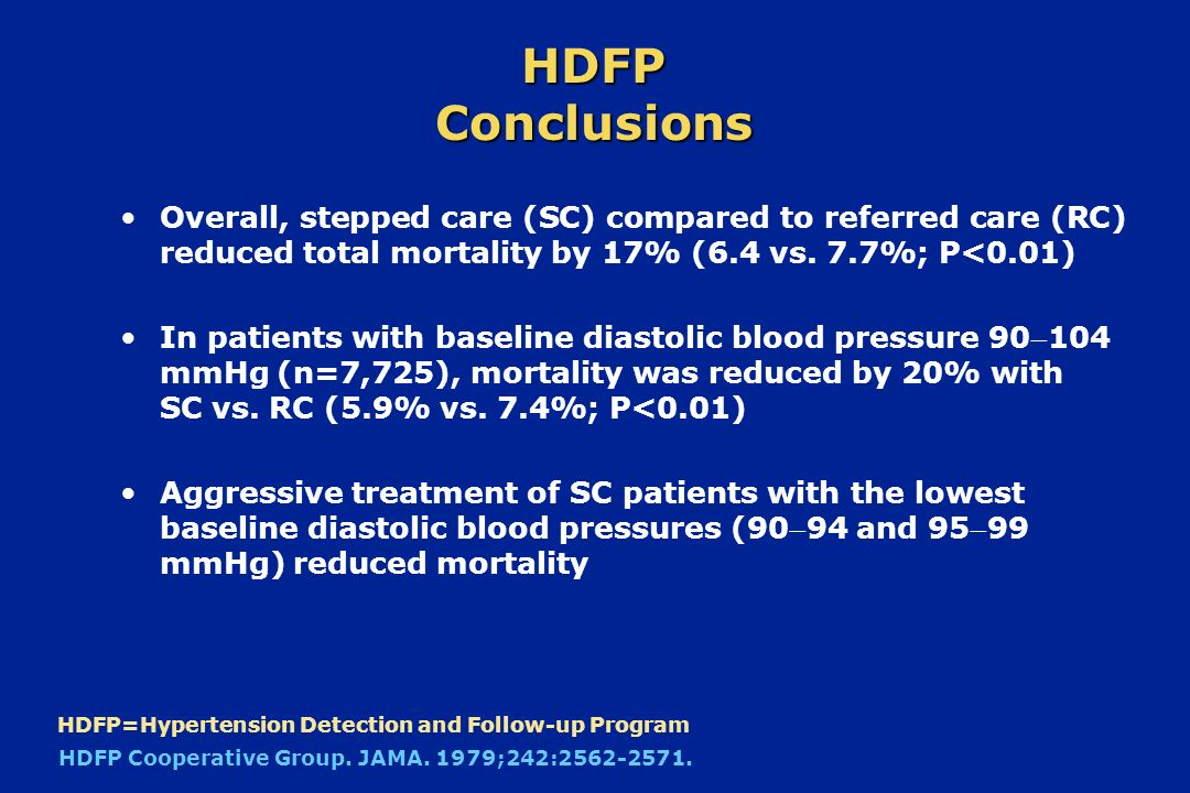 HDFP Conclusions Overall, stepped care (SC) compared to referred care (RC) reduced total mortality by 17% (6.4 vs. 7.7%; P<0.01)
