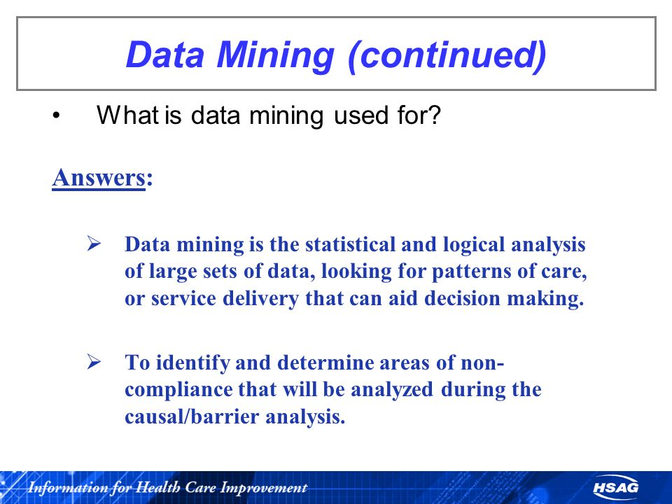 Data Mining (continued)