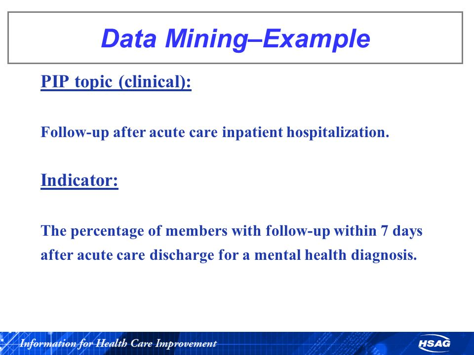 Data Mining–Example PIP topic (clinical): Indicator: