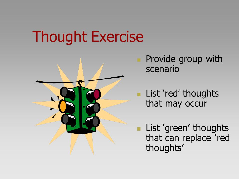Thought Exercise Provide group with scenario
