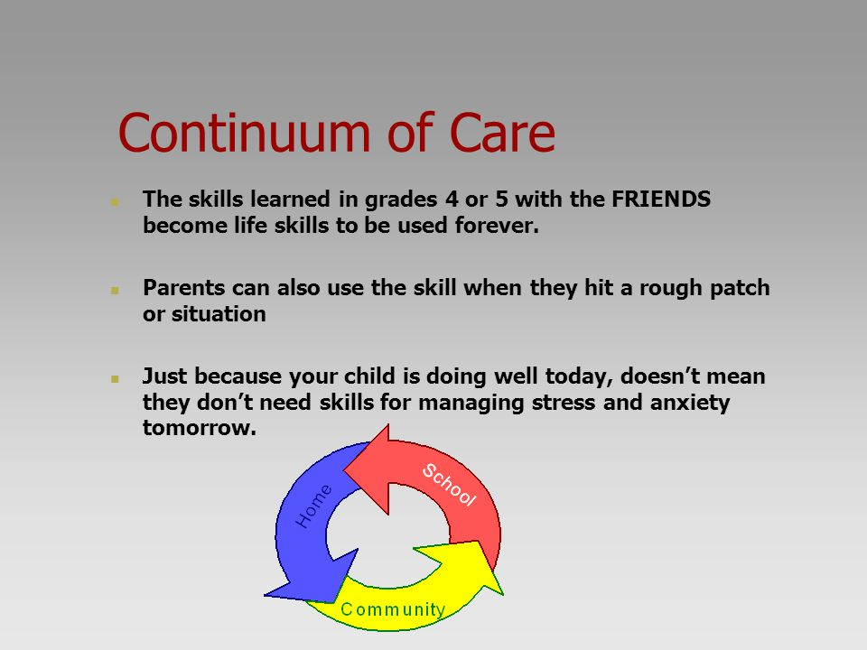 Continuum of Care The skills learned in grades 4 or 5 with the FRIENDS become life skills to be used forever.