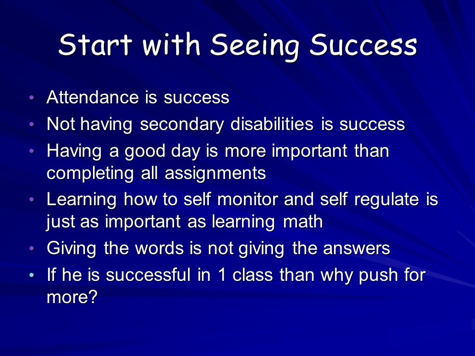 Start with Seeing Success