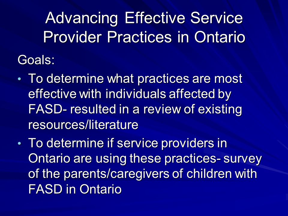 Advancing Effective Service Provider Practices in Ontario